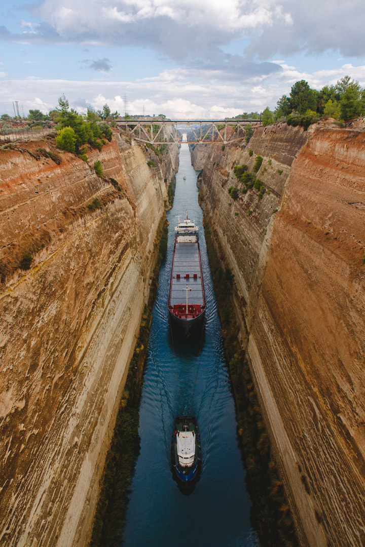 Corinth canal ship crossing